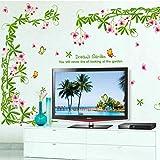 Fleur Rotin Stickers Muraux Salon Chambre Tv Mur Canapé-Lit Maison Fond Décoration 60x90Cm