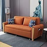 Canapé-Lit Pliant, Canapé-Lit Multifonctionnel en Tissu Nordique, Lit Convertible avec Coussin, Canapé Futon Sectionnel pour Salon D'appartement,Orange,1.3M