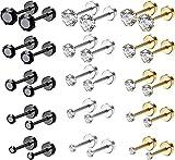 Finrezio 15 paires en acier inoxydable CZ boucles d'oreilles vis dos plat Barbell Cartilage Piercing boucles d'oreilles pour femmes hommes