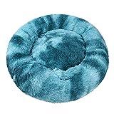 luciphia Rond Chien Lit pour Chat Chiot Animal Domestique Doux Peluche Canapé Coussin Puppy Sleeping Nest Bleu Foncé M-60cm