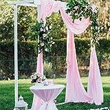 BIT.FLY 10M x 1.35M Organza Voitures nœud Chaise Organza écharpe de Chaise Chemin de Table Jupe bannière décorations Mariage Ceremonie Anniversaire Fête (Rose Clair)