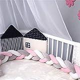 NIUXUAN Lit bébé Lit Bumper Protector Weaving En Peluche Knot Tour De Lit Décor Chambre Enfant Nouveau-né Cadeau Coussin Oreiller Lit sommeil Pare-chocs (2m, Blanc-Gris-Rose)
