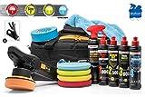Detailmate Kit de polissage - Liquid Elements T2000 V3 Exzenter Polisseuse + Kit de Menzerna : Control Cleaner HC1000, MC 2500, FF 3000, cire de carnauba + 4 tampons + ruban 3M + chiffon de polissage