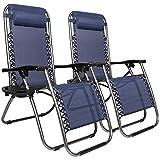 Chaise de Jardin inclinée HJYUIK 2PCS avec Support de Coupe Patio Zero Gravity Sungers chaises Longues Pliantes Chaises inclinables de Relaxant (Bleu) (Livraison d'une Semaine)
