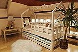 Lit en bois Barrières de sécurité et tiroir, Lit pour Enfants,lit d'enfant,lit cabane avec barrière, 5 Jours Livraison (190 x 90 cm, Tiroir et lit: Avec)
