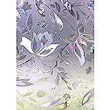 Zindoo Film Statique Vitre Anti-UV Film Occultant Fenêtre Non Adhésif, 3D Film Fenetre Anti Regard Motif Tulipes Fleur pour Decoration Maison Bureau Chambre Cuisine 90cm × 200 cm