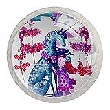 Pink Blue Watercolor Unicorn Girl Flowers Poignées de porte armoires tiroirs poignées armoires meubles de jardin, 4 PCS