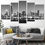 Peinture sur toile 5pcs Toile Imprimer Images 5 Pieces Vue de Chicago Skyline la nuit en noir et blanc Place urbain Photo pour la décoration de la maison Vivant (Size (Inch) : 30x40 30x60 30x80cm)