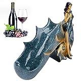 Dpofirs Figurines de Fille Porte-vin, Support de Porte-Bouteille de vin, Beau Travail à Placer dans Le Bureau, Le Salon, Le comptoir(BS023-1 Blue Girl Wine Rack)