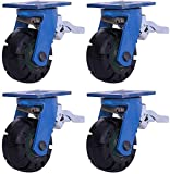 MKXF Meubles à roulettes, roulettes pivotantes, avec Freins, Roues Mobiles silencieuses en Caoutchouc de 8 Pouces, Transport par Chariot très résistant, 4 Paquets