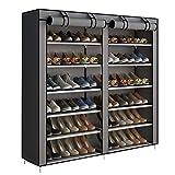 ACCSTORE Etagères à Chaussures de Rangement Armoire en Tissus Rangement Étanche Étagères à Chaussures 2 X 6 Couches,Gris