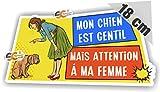 SC ® - Sticker/Autocollant' Mon chien est gentil/Mais Attention à ma femme' Attention au Chien/Chien Méchant - Fabrication Française (Largeur 18 cm/Hauteur 8,5 cm)