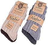 BRUBAKER Chaussettes tricotées en Alpaga - Lot de 4 Paires - 100% Laine d'alpaga - Unisexe - 39-42 - Multicolore