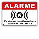 Panneau de Dissuasion Alarme en PVC + 4 Trous pour Fixation avec Texte : Site sécurisé par télésurveillance - Intervention 24H/24H ARB (150 x 100 mm)