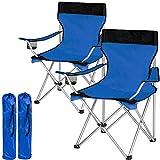 TecTake Chaise de Camping Fauteuil Pliable avec Porte-Boisson et Sac de Transport - diverses Couleurs et quantités au Choix - (2X Noir-Bleu | no. 401251)