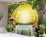 Tissu suspendu décoratif mural belle grotte cascade plage paysage chevet décoration murale décorer la vie à la maison 180x230cm / XL