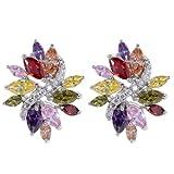 Yazilind eblouissant Argent Plaque Fleur boucles d'oreille cubes colores zircon CZ sans faille goujon Message