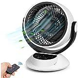 Ventilateur Silencieux, Bruit Min 25dB, Ventilateur de Table avec Télécommande, Écran Tactile LCD, Minuteur 1-7H, 3 Vitesses Réglables, Turbo Ventilator à Circulation d'air pour Chambre Salon(40W)