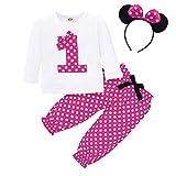FYMNSI Ensemble 3 pièces pour bébé fille 1er / 2e / 3e / 4e anniversaire - T-shirt à manches longues + pantalon + bandeau d'oreille - - 12-18 mois