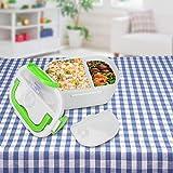 【𝐏𝐫𝐨𝐦𝐨𝐭𝐢𝐨𝐧 𝐝𝐞 𝐏â𝐪𝐮𝐞𝐬】 Boîte à lunch électrique, Portable 12V Voiture Utilisation Chauffage électrique Boîte à lunch Bento Chauffe-repas Récipient de nourriture Réchauffeur(vert)