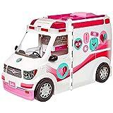 Barbie Véhicule Médical rose et blanc pour poupée, voiture ambulance transformable en hôpital avec plus de 20 accessoires, jouet pour enfant, FRM19
