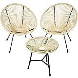 TecTake 800730 2 Fauteuils Acapulco de Jardin de Salon Design rétro, avec 1 Table, pour Un Usage en intérieur et extérieur - Plusieurs Couleurs - (Beige | no. 403310)