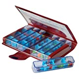MAGNIEN Medidose Classic Weekly Pills - Assortiment de couleur (Rouge / Bleu / Gris)
