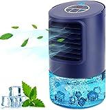 Climatiseur Portable, 4 en 1 Mini Refroidisseur D'air à ventilateur de refroidissement, con 3 Velocità,Timer 2/4h, 7 Colori Luce, per Casa e Ufficio,Cadeau D'été Spécial