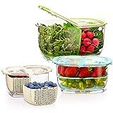 Luxear Lot de 3 Boîtes Fraicheur Organisateur de Frigo sans BPA avec Grille d'Aération, Boîte de Conservation Alimentaire Salade, Rangement Réfrigérateur pour Fruits Légumes Fromages 0,4L+1,8L+4,4L