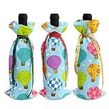Ballons à Air chaud de dessin animé 3 pièces sacs de couverture de bouteille de vin avec cordons pour dîner dégustation de vin Table de fête Champagne
