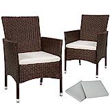TecTake 2x Chaise de jardin en poly rotin résine tressé + coussin + deux set de housses + vis en acier inoxydable - diverses couleurs au choix - (Marron mixte | No. 402123)