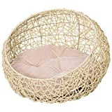 Panier Chat lit Chat Cosy Grand Confort dim. Ø 56 x 35H cm Coussin Moelleux Inclus PVC Imitation rotin Beige