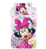 Minnie Disney Mouse Parure de lit en Coton pour bébé Housse de Couette 100x135 et sa taie 40x60