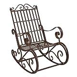 [en.casa] Fauteuil à Bascule de Jardin Vintage Robuste Meuble Design pour Usage Extérieur Métal 92 x 59 x 90 cm Bronze