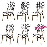 SOLDES : -43% Lot 6 chaises bistrot CLAR alu et polyrotin blanc - Rotin Design Garden