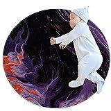 LKJDF Tapis rond pour enfant lavable en machine Violet foncé abstrait