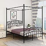 JURMERRY Cadre de lit Double avec tête de lit et Pied de lit décorés de Style européen, en Acier Robuste, s'adapte Parfaitement à Votre Matelas, Assemblage Facile,Noir