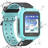 Enfants étanche Smartwatch GPS Tracker - Les Filles garçons IP67 résistant à l'eau GPS LBS WiFi Tracker SOS Jeu de la caméra Sports de Plein air Montre téléphone (S9-Blue)