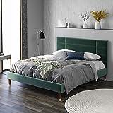 Merax Lit capitonné double avec tiroir de lit et sommier à lattes, cadre de lit capitonné avec tête de lit en velours vert foncé, pour adultes et adolescents, vert foncé (matelas non inclus)