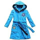 FEETOO] Equipe de Football Brodé Garçon Peignoir de Bain Robe de Nuit pour Enfants (14, Blue)