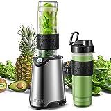 Aicok Mini Blender Portable Blender Smoothie Mélangeur de Fruits pour Smoothie, Milk-shake,Jus de Fruits, Mixeur Electrique Multifonction de 600 ml, Sans-BPA et Corps en Inox (Green)