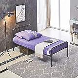 H.J WeDoo Cadre de lit en métal pour Adultes et Enfants avec 6 Pieds en Métal et Sommier Intégré (Lit 1 Place) 90x190cm - Noir