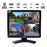 15 Pouces Moniteur Video Surveillance, LCD HD Ecran CCTV avec BNC/VGA/HDMI/AV Haut-Parleur Intégré pour Domicile/Magasin Caméra Système de Surveillance de la Sécurité(1024x768 Résolution)