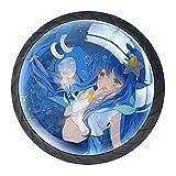 4PCS - Poignée de tiroir florale décorative colorée Boutons ronds de commode Anime Blue Mermaid Girl 01 35mm