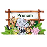 Sticker Tête de Lit pour Chambre d'enfant - Animaux Rigolos - Personnalisable avec Le Prénom De Votre Enfant - Dimensions 55 cm x 1 m - Protection Anti-UV