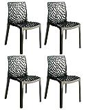 Meubletmoi Lot de 4 chaises Design ajourées et empilables - Produit Confort et de Haute qualité en polypropylène – Collection GRUYER – Noir