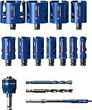 Bosch Professional 15x Coffrets de scies trépans Expert Construction Material (pour Bois résineux, Ø 20-76 mm, Accessoires Perceuse à percussion)
