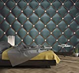 murimage Papier Peint Cuir Noir 274 x 254 cm Photo Mural Optique 3D Diamant matelassé Paillettes chambre à coucher wallpaper colle inclus