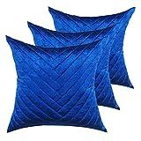 casamia Lot de 3 coussins décoratifs pour canapé - Velours - 45 x 45 cm - Bleu roi