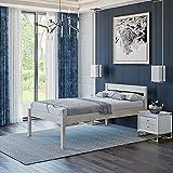 Lit Haut 120x200 cm Triin, Tête de lit Haute + Lattes – Cadre de Lit Simple 55сm Haut en Bois de Bouleau stratifié - Supporte jusqu'à 700 kg - Style Scandinave